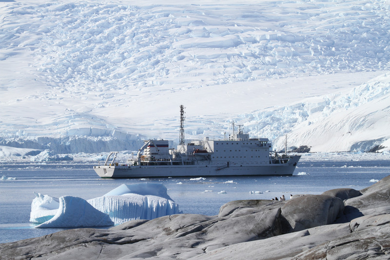 The Akademik Ioffe moored off Pleneau Island