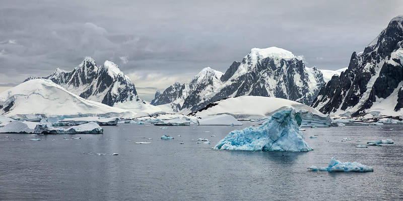 Antarctic Icebergs and Mountains