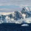 Antarctic Icebergs and Mountains Panoramic