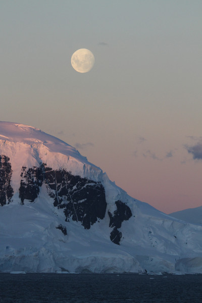 Moonrise and sunset