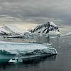 Antarctic Icebergs and Mountains Panoramic