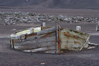 Abandoned dingy on Deception Island