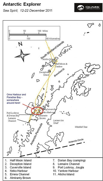 (5) 20111212 Route Map - Orne Harbour and Paradise Bay