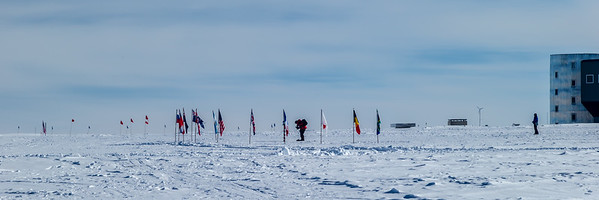 The South Ceremonial Pole, with a semi-circle ring of flags from the original signers of the Antarctic treaty, is a place of reflection for visitors.