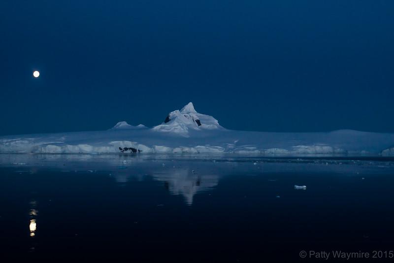 Moonlight over Icebergs - Chrystal Channel - February 3, 2015