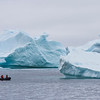 in the land of the giants - the icebergs in Antarctic are enormous.  When you're out on the zodiac, you're taken aback by how quiet it is.  The only sounds are the small engine on the boat, and the sounds of crackling ice from the bergs.