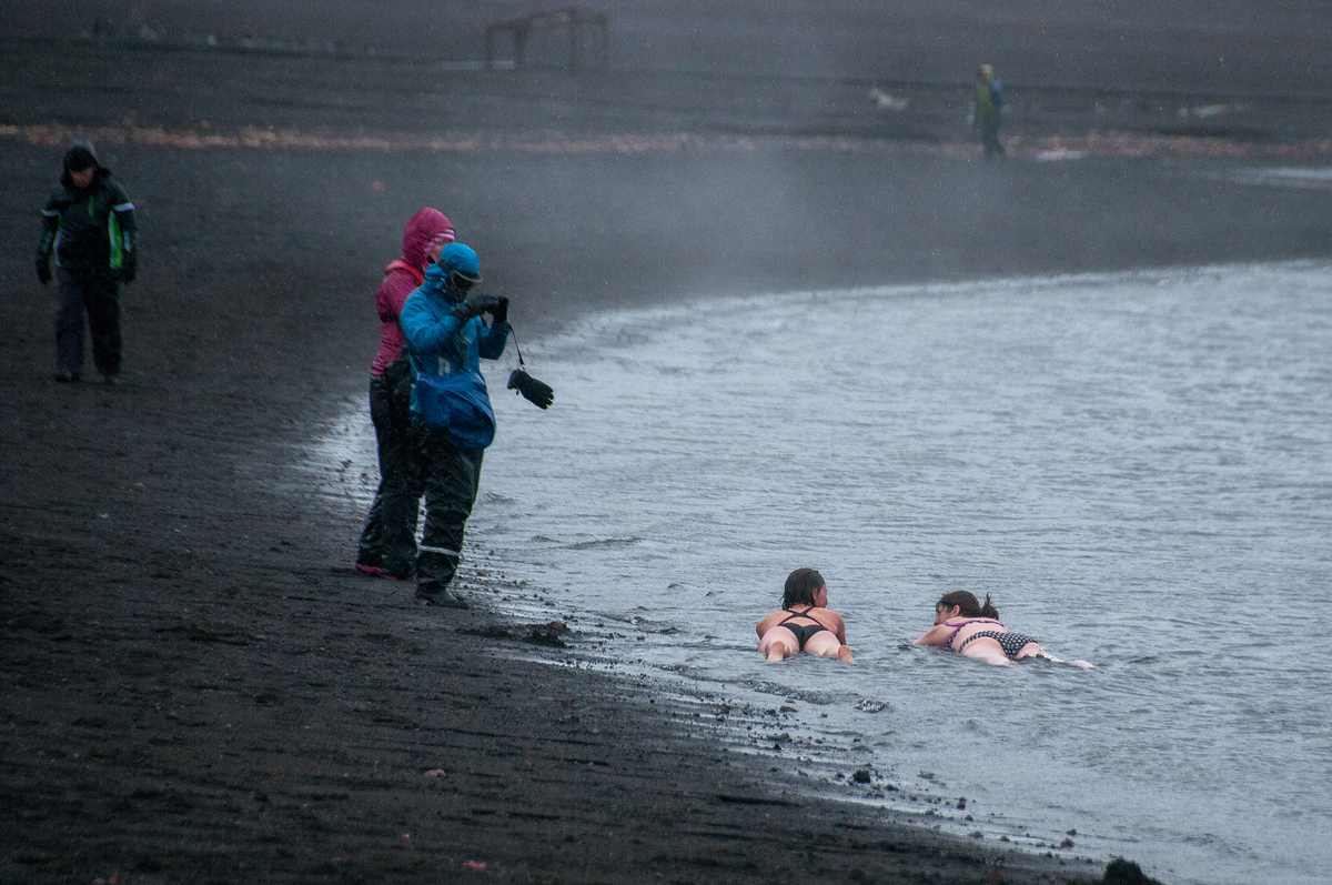 Swimming in Deception Island, Antarctica