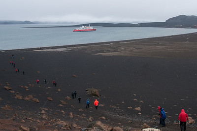 Black sand beach in Deception Island, Antarctica