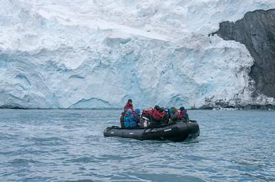 Zodiac near glacier, Elephant Island