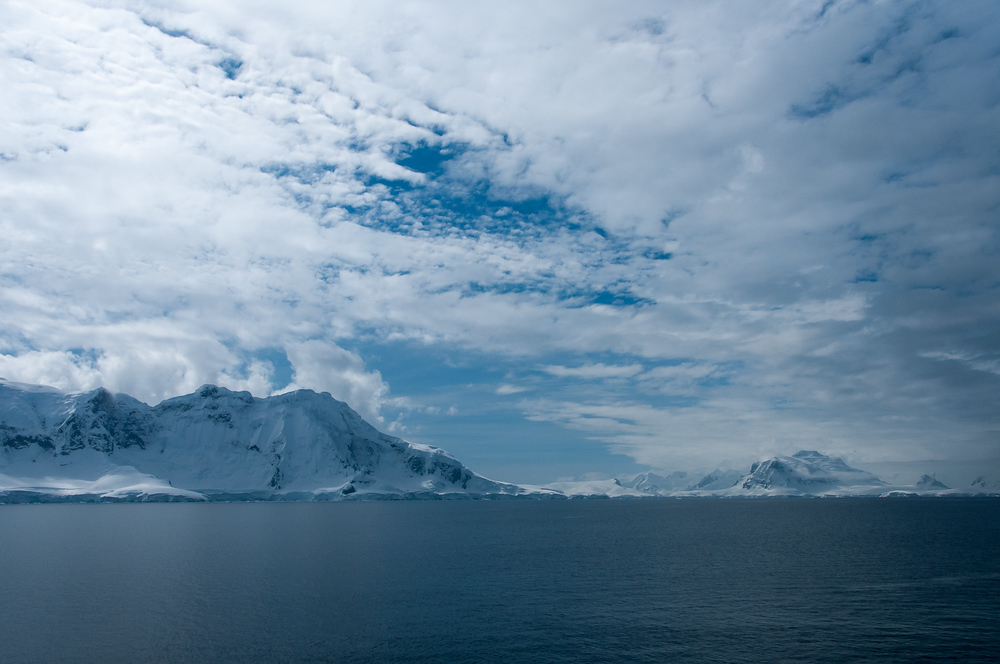 Snow Capped Mountains in the Gerlache Strait, Antarctica