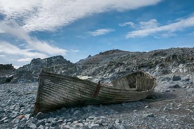 Abandoned whaling ship on Half Moon Island, Antarctica
