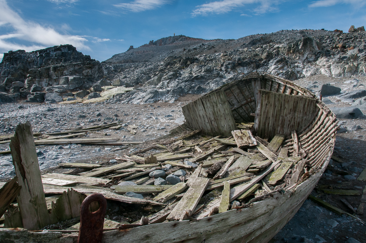 Abandoned Whaling Ship on Half-Moon Island, Antarctica