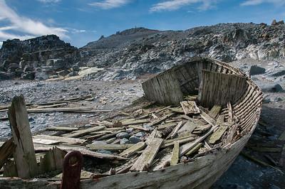 Abandoned whaling boat in Half Moon Island, Antarctica