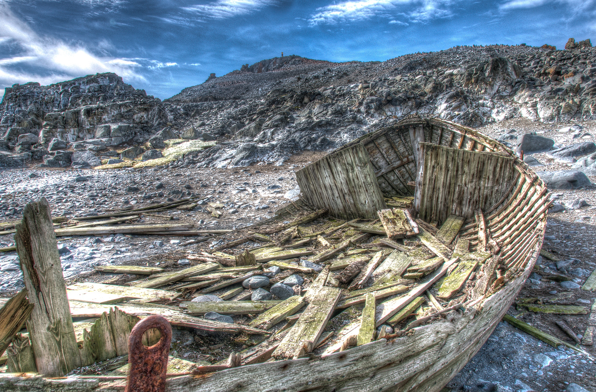 Abandoned Whaling Ship on Half Moon Island, Antarctica
