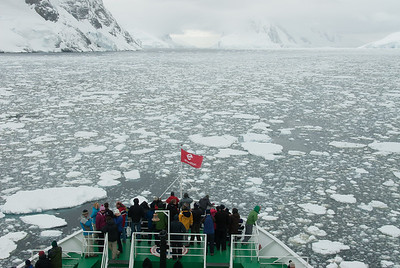 Bow of M/S Expedition in Lemaire Channel, Antarctica
