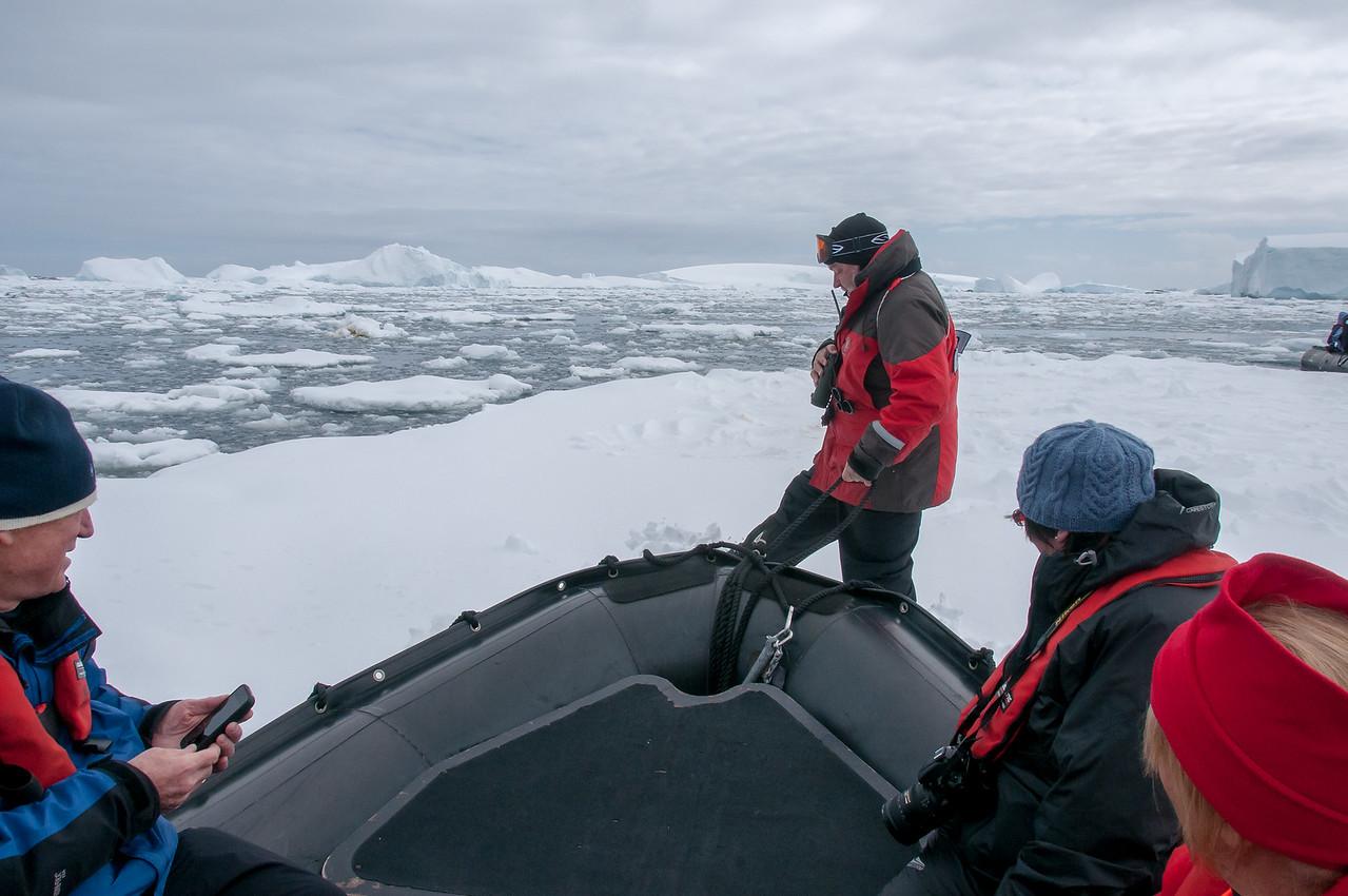 Landing on Pancake Ice in Pleaneu Bay, Antarctica