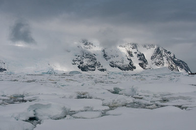 Mountains and ice in Pleneau Bay, Antarctica