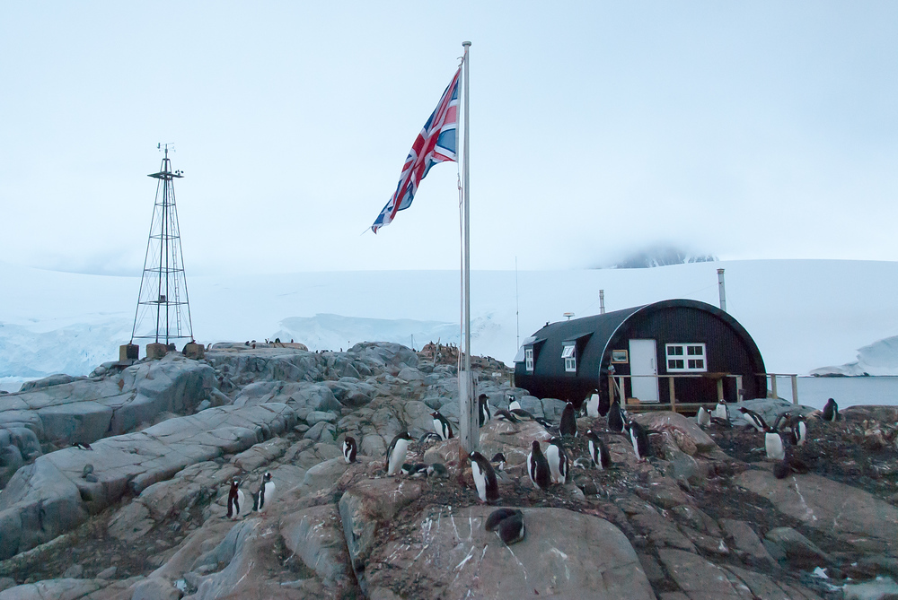 Union Jack Flying Over Port Lockroy, Antarctica