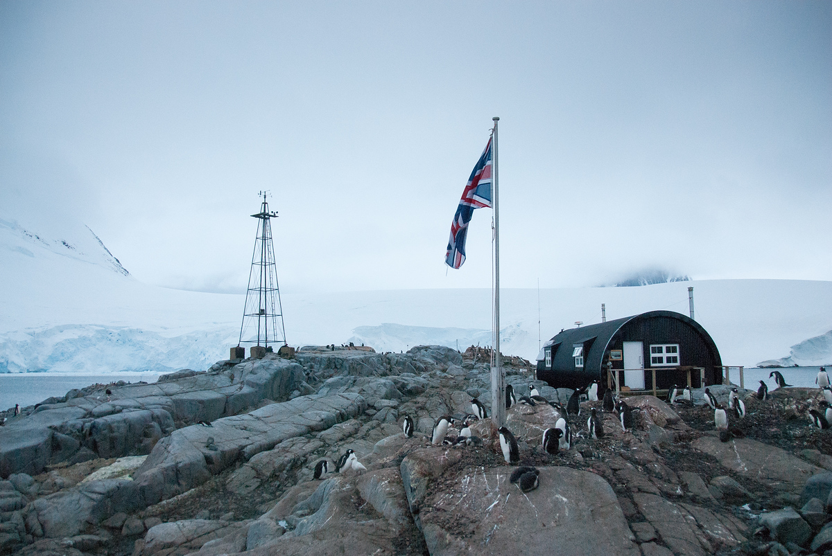 The British Flag Flying Over Port Lockroy, Antarctica