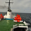 View of our ship, the Ortelius, from the upper outside bow deck as we move along to the Falkland Islands.