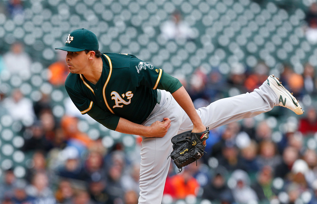 . Oakland Athletics relief pitcher Fernando Rodriguez throws against the Detroit Tigers in the fifth inning of a baseball game in Detroit, Thursday, April 28, 2016. (AP Photo/Paul Sancya)