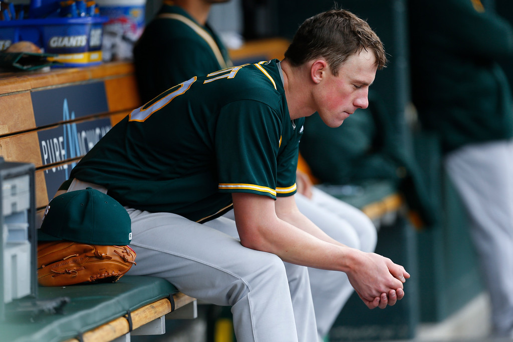 . Oakland Athletics pitcher Chris Bassitt sits in the dugout after being relieved against the Detroit Tigers in the fourth inning of a baseball game in Detroit, Thursday, April 28, 2016. (AP Photo/Paul Sancya)