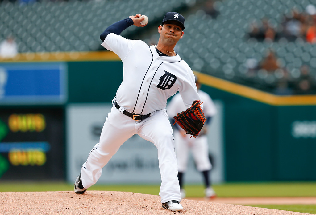 . Detroit Tigers pitcher Anibal Sanchez throws against the Oakland Athletics in the first inning of a baseball game in Detroit, Thursday, April 28, 2016. (AP Photo/Paul Sancya)