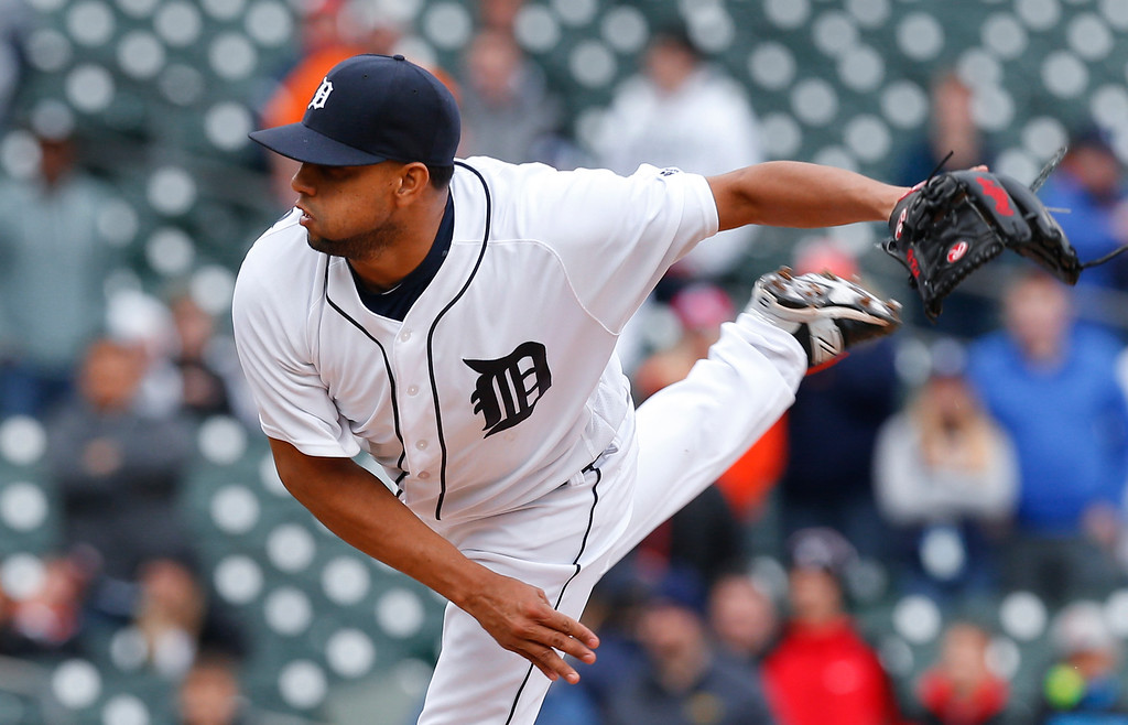. Detroit Tigers relief pitcher Francisco Rodriguez throws against the Oakland Athletics in the ninth inning of a baseball game in Detroit, Thursday, April 28, 2016. Detroit won 7-3. (AP Photo/Paul Sancya)