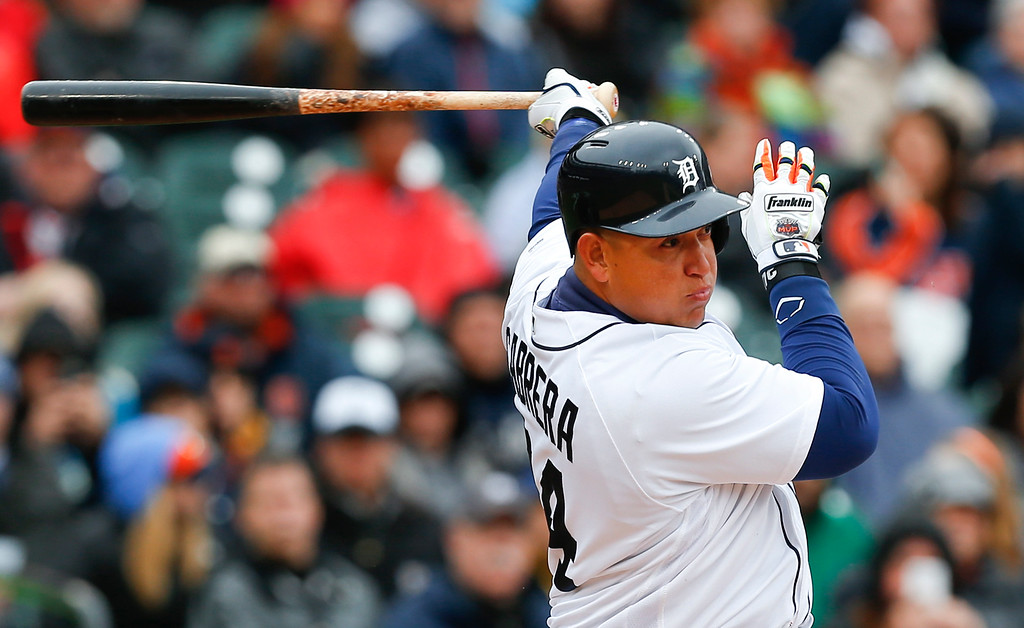 . Detroit Tigers\' Miguel Cabrera bats against the Oakland Athletics in the seventh inning of a baseball game in Detroit, Thursday, April 28, 2016. (AP Photo/Paul Sancya)