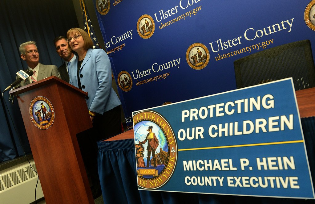 . Tania Barricklo-Daily Freeman  Jane Clementi, Co- Founder of the Tyler Clementi Foundation, speaks at a press conference Wednesday morning where Ulster County Executive Miker Hein, center, signed a local law prohibiting cyber-bullying in Ulster County. With them at podium is Jeff Rindler, Executive Director of the Hudson Valley LGBTQ Community Center located in Uptown Kingston. Clementi is the mother of Tyler Clementi , a former Rutgers student who commited suicide after being the victim of cyber-bullying.
