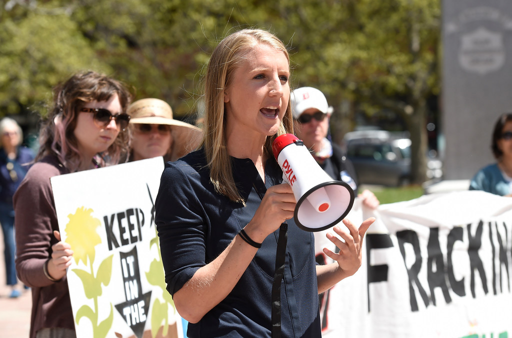 . Suzanne Spiegel, with Frack Free Colorado, speaks to a group of protesters during a anti-fracking protest on Monday at the Boulder County Courthouse on the Pearl Street Mall in Boulder, Colo. For more photos and video of the fracking protest go to www.dailycamera.com Jeremy Papasso/ Staff Photographer/ May 1, 2017