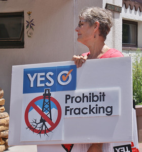 "Woman holds ""prohibit fracking"" sign at demonstation."
