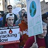 Fracking opponents marching in downtown Denver.