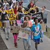 Group of kids, members of Earth Guardians, lead an anti-fracking march in Denver.