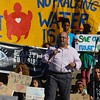 State Representative Joe Salazar speaking at an anti-fracking rally at the State Capitol in Denver.