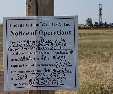 Notice of operations sign near fracking site near Lafayette, in Boulder County, Colorado.