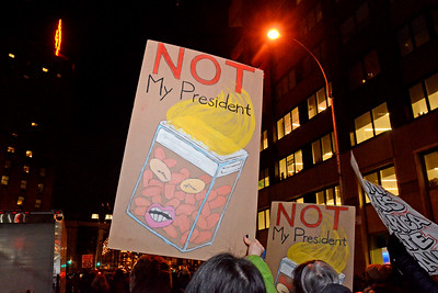 New York, New York - January 19, 2017: Anti-Trump protest on Central Park West outside of the Trump Towers on January 19, 2017 in Manhattan, New York. Photo by Lukas Maverick Greyson © 2017 LMG