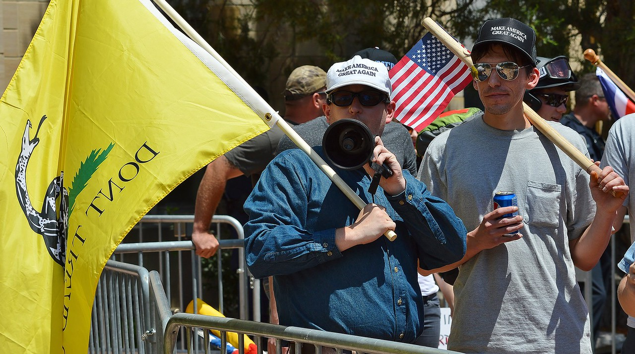 """Many American flags were on display at the """"Free Speech Rally"""" sponsored by the alt-right group """"The Proud Boys"""", held in Boulder, Co."""