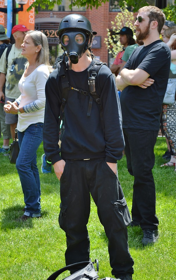 "This woman was among the counter protesters at the ""Free Speech Rally"" sponsored by the alt-right group ""The Proud Boys"", held in Boulder, Co."