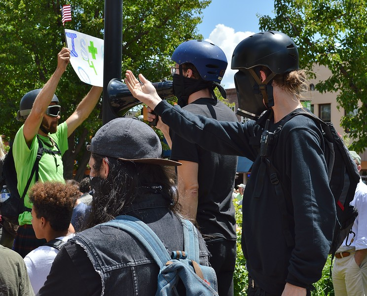 """These black clad anarchists were among the counter protesters at the """"Free Speech Rally"""" sponsored by the alt-right group """"The Proud Boys"""", held in Boulder, Co."""