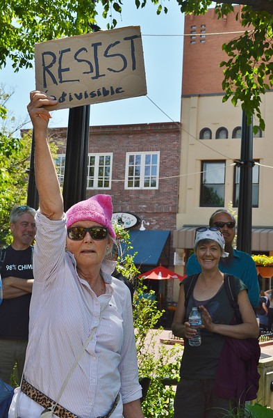 """This woman was among the counter protesters at the """"Free Speech Rally"""" sponsored by the alt-right group """"The Proud Boys"""", held in Boulder, Co."""