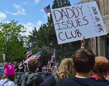 "Counter demonstrators at rally held by the alt right group ""The Proud Boys"", in Boulder, Co."
