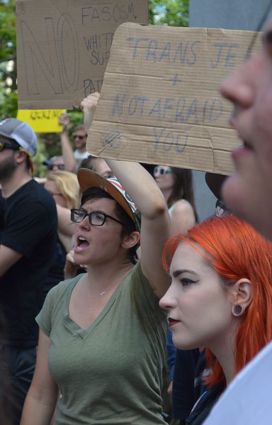 """Some of the counter demonstrators at the """"Free Speech Rally"""" sponsored by the alt-right group """"The Proud Boys"""", held in Boulder, Co."""