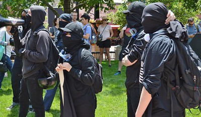 "These black clad anarchists were among the counter protesters at the ""Free Speech Rally"" sponsored by the alt-right group ""The Proud Boys"", held in Boulder, Co."