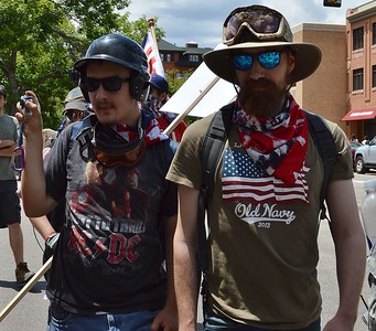 "Members of the alt-right group ""The Proud Boys"" depart a rally in Boulder, Co."