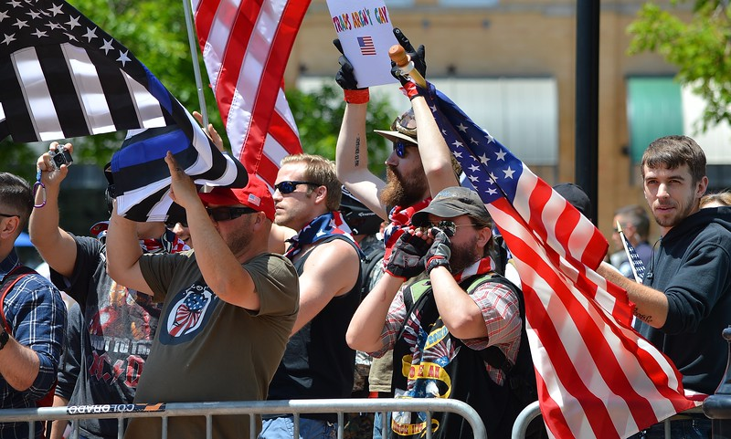 "Many American flags were on display at the ""Free Speech Rally"" sponsored by the alt-right group ""The Proud Boys"", held in Boulder, Co."
