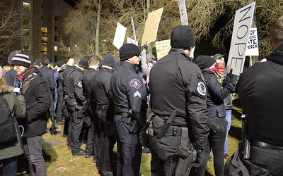 Police and protesters face off at speech by Milo Yiannopoulos at Univ of Colorado in Boulder.