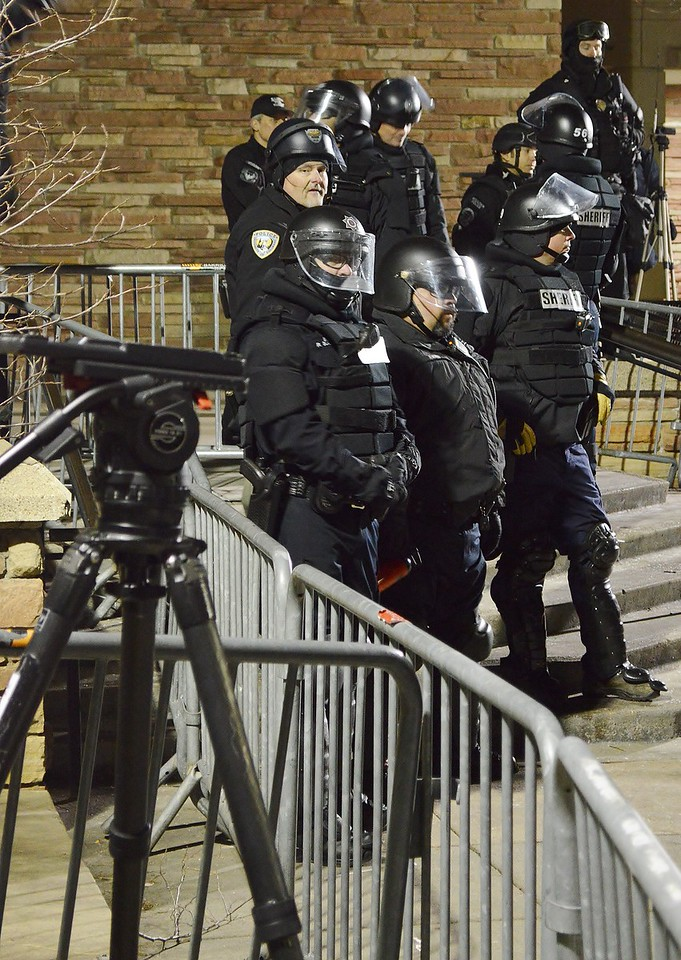 Police in riot gear at protest against Milo Yiannopoulos speech at University of Colorado in Boulder.