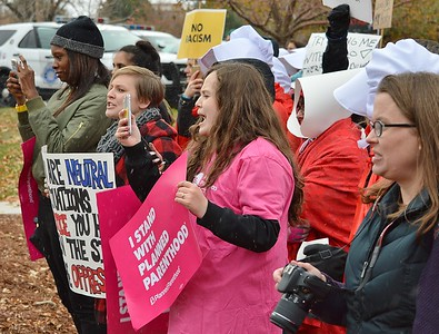 The threat to women's reproductive rights was a concern for many at the protest outside a Republican fundraiser in Denver, where Vice President Mike Pence was speaking.