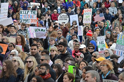 Part of the crowd of thousands of protesters who rallied to oppose President Trumps ban on immigrants and refugees from Muslim majority countries.